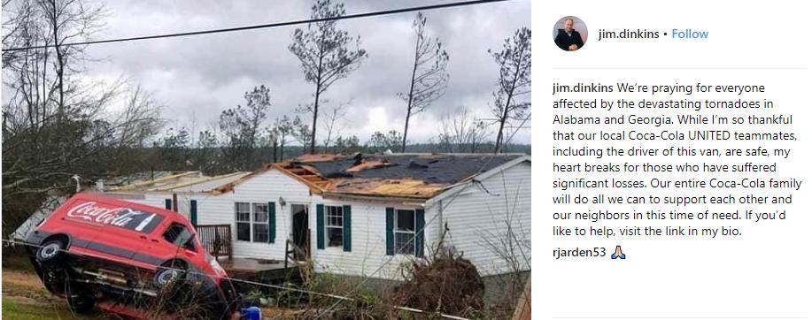 Jim Dinkins, President Coca-Cola North America, F4 Tornadoes, East Alabama, Deep South Division