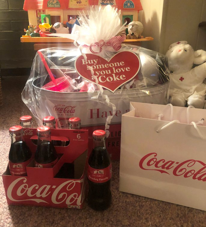 The gift basket Joyce received with her personalized glass bottles