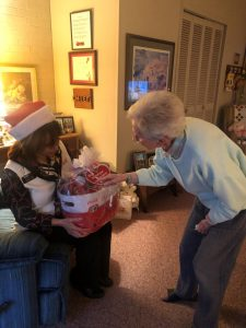 Joyce checking out her gift basket