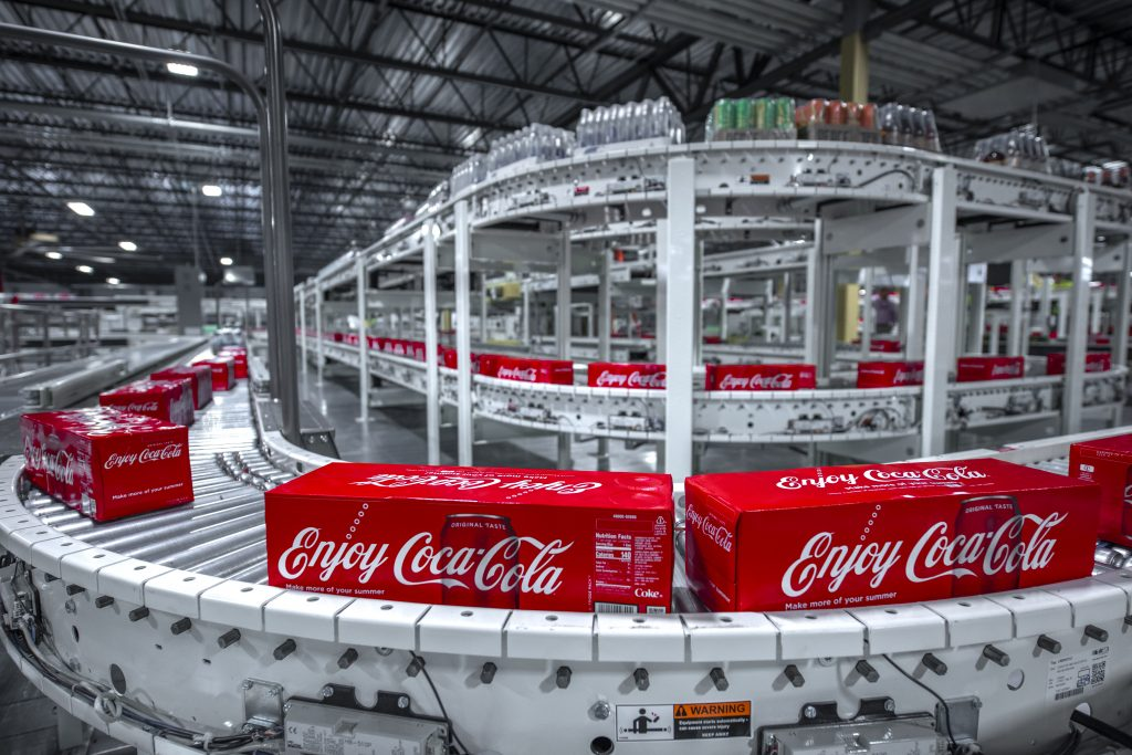 12-pack of Coke on the line